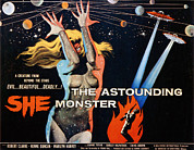 1950s Poster Art Framed Prints - The Astounding She Monster, Shirley Framed Print by Everett