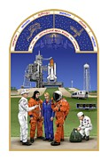 Manuscript Digital Art Acrylic Prints - The Astronauts Book of Hours - The Space Shuttle Acrylic Print by Marilynn Flynn
