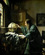Oil Framed Prints - The Astronomer Framed Print by Jan Vermeer
