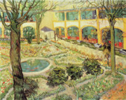 Perspective Painting Prints - The Asylum Garden at Arles Print by Vincent van Gogh