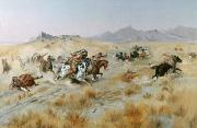 Wagon Train Framed Prints - The Attack Framed Print by Charles Marion Russell