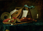 Instruments De Musique; Lute; Music Stand; Violin; Bagpipes; Recorder; Sheet; Score; Still Life; Anne Vallaer-coster Posters - The Attributes of Music Poster by Anne Vallaer-Coster