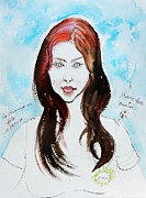 Quick Mixed Media Posters - The Auburn Hair Blue Eyes Girl Poster by Ion vincent DAnu