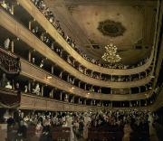 Chandelier Prints - The Auditorium of the Old Castle Theatre Print by Gustav Klimt