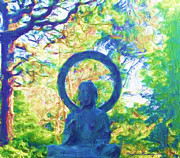 Digital Graphic Art Digital Art Posters - The Aura of Buddha Poster by Wayne Bonney