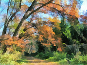 Pond In Park Painting Prints - The autumn forest Print by Odon Czintos