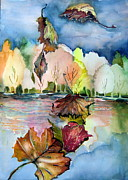 Waterscape Drawings Posters - The Autumn Leaves Drift By My Window Poster by Mindy Newman
