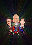 Thor Drawings Prints - The Avengers C Hemsworth R Downey jr C Evans Print by Michael Dijamco