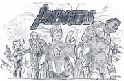 Hulk Drawings - The Avengers by Chris  DelVecchio