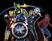 Comics Paintings - The Avengers by Darrell Hopkins