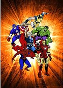 Thor Drawings Acrylic Prints - The Avengers Acrylic Print by Michael Dijamco
