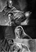 Chris Evans Drawing Drawings - The Avengers by Nat Morley