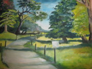 Nature Walks Paintings - The avenue by Alina Blaszczyk