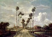 Village Paintings - The Avenue at Middelharnis by Meindert Hobbema