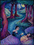 Religious Drawings Posters - The Awakening Poster by Debra A Hitchcock