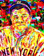 New York Yankees Paintings - The Babe by Mike OBrien