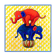 Act Painting Posters - The Baby Elephants Ball Poster by Rich Travis