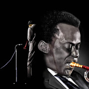 Singer Songwriter Paintings - The Back And The Affront Of Miles Davis by Reggie Duffie