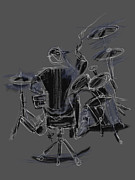 Drum Kit Prints - The Back Beat Print by Russell Pierce