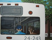 Montreal Painting Metal Prints - The Back of the Bus Metal Print by Reb Frost
