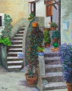 Villa Painting Originals - The Back Stairs by Charlotte Blanchard
