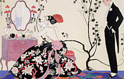 Vines Drawings - The Backless Dress by Georges Barbier