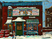 Montreal Neighborhoods Paintings - The Bagel Factory On Fairmount by Carole Spandau