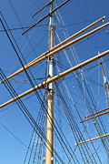 Sailing Vessel Photos - The Balclutha . A 1886 Square Rigged Cargo Ship At The Hyde Street Pier in SF . Mast . 7D14158 by Wingsdomain Art and Photography