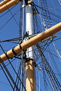 Historic Ship Framed Prints - The Balclutha . A 1886 Square Rigged Cargo Ship At The Hyde Street Pier in SF . Mast . 7D14159 Framed Print by Wingsdomain Art and Photography
