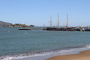 Hyde Street Pier Prints - The Balclutha . A 1886 Square Rigged Cargo Ship At The Hyde Street Pier Overlooking Alcatraz.7D14068 Print by Wingsdomain Art and Photography