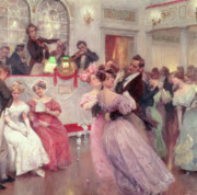 19th Century Painting Prints - The Ball Print by Charles Wilda