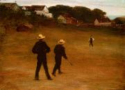 Catcher Paintings - The Ball Players by William Morris Hunt