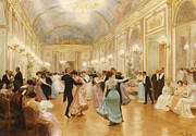 Dancing Couples Posters - The Ball Poster by Victor Gabriel Gilbert