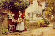 Flower Pots Prints - The Ballad Seller Print by Robert Walker Macbeth