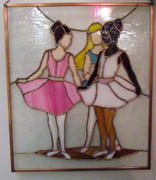 Dancers Glass Art Framed Prints - The Ballet Dancers in Stained Glass Framed Print by Arlene  Wright-Correll