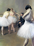 Ballet Dancers Painting Prints - The Ballet Lesson Print by Stefan Kuhn