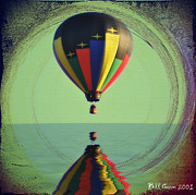 Balloon Digital Art Prints - The Balloon and the Sea Print by Bill Cannon