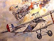 Wwi Painting Originals - The Balloon Buster by Marc Stewart