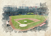 Baseball Print Framed Prints - The Ballpark Framed Print by Ricky Barnard