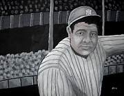 Major League Baseball Painting Prints - The Bambino Print by Edwin Alverio