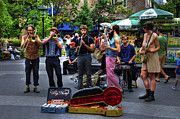 Washington Square Park Framed Prints - The band Big Nasty from Asheville performing in Washington Square Park Framed Print by Randy Aveille