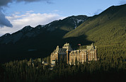 Evergreen Trees Photo Posters - The Banff Springs Hotel, Nestled In An Poster by Michael S. Lewis