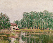 Reflection Of Tree Prints - The Banks of the Canal at Moret Sur Loing Print by Alfred Sisley