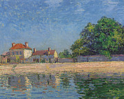 Reflecting Water Prints - The Banks of the Loing Print by Alfred Sisley