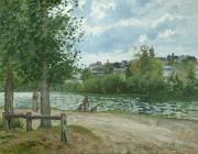 Pissarro; Camille (1830-1903) Framed Prints - The Banks of the Oise at Pontoise Framed Print by Camille Pissarro