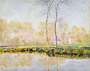 Reflecting Trees Paintings - The Banks of the River Epte at Giverny by Claude Monet