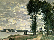 River Walk Paintings - The Banks of the Seine at Argenteuil by Claude Monet