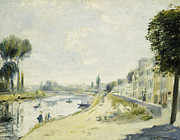 Tall Buildings Prints - The Banks of the Seine at Bougival Print by Pierre Auguste Renoir