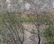 The Trees Painting Framed Prints - The Banks of the Seine Framed Print by Claude Monet