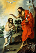 Baptism Paintings - The Baptism Of Christ by Bartolome Esteban Murillo